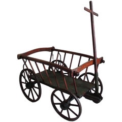 19th Century Rustic Original Red Painted Childs Wagon