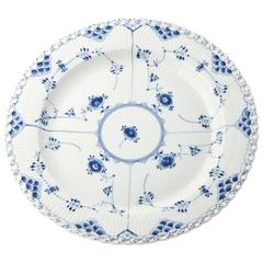 Large Royal Copenhagen Blue and White Fluted Lace Pattern Floral Platter