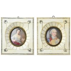Pair of Antique Hand-Painted Miniature Portraits of Couple in Bone Frames