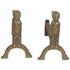 Pair of Cast Bronze Andirons, French, 1950s