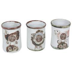 Set of Three Stoneware Pots by Albert Thiry, French, circa 1950