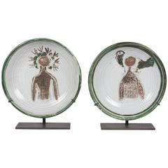 Set of Two Glazed Stoneware Chargers by Albert Thiry, French, circa 1950