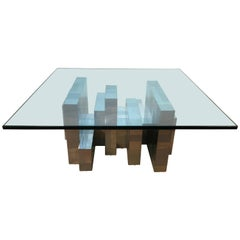 Large Paul Evans Ten Segment Chrome Coffee Table, for Directional