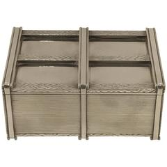 Danish Modern Solid Sterling Crate Motif Table Box by I. Holm