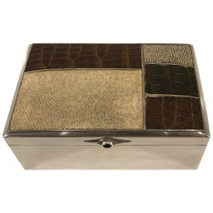 Scandinavian Modern Sterling Shagreen and Alligator Box by David Anderson, 1966