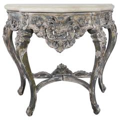 French Painted Console with Stone Top