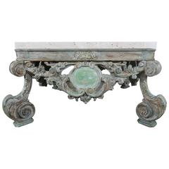 French Louis XV Style Coffee Table with Travertine Top