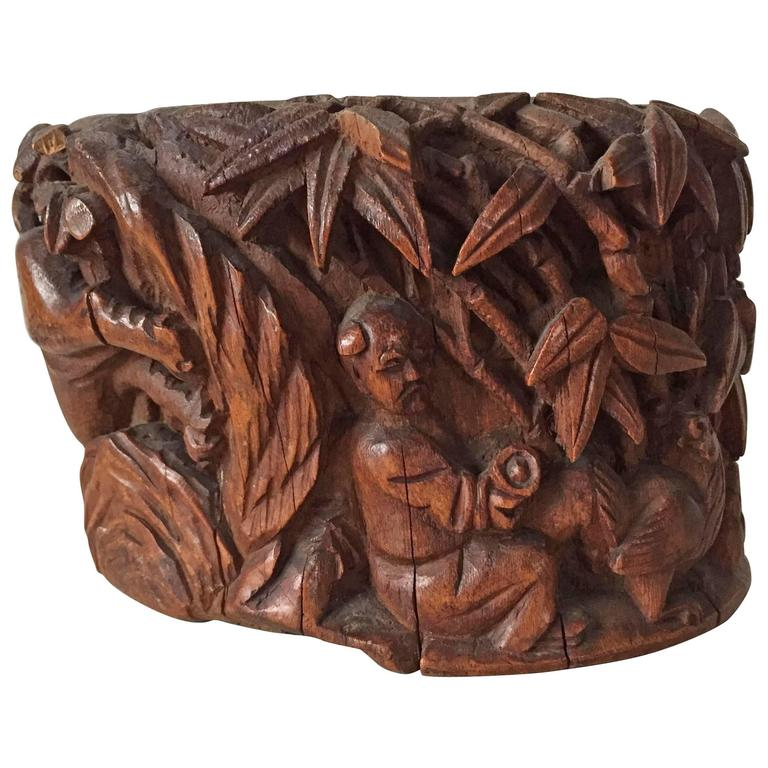 19th Century Chinese Carved Bamboo Brushpot