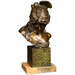20th Century, Italian Sculpture in Bronze Depicting Girl's Bust