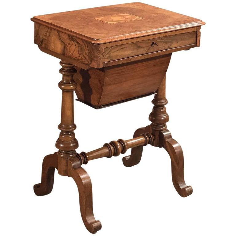 Antique Work Table, Victorian Sewing Table, circa 1860