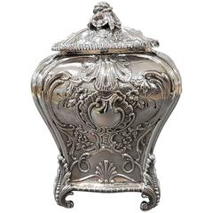 20th Century Sterling Italian Silver Tea Caddy George III replica