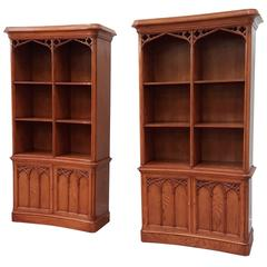 Arthur Brett Oak Gothic Open Bookcase