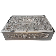 20th Century Italian Solid Silver Table SHIP Box embossed completely by hand