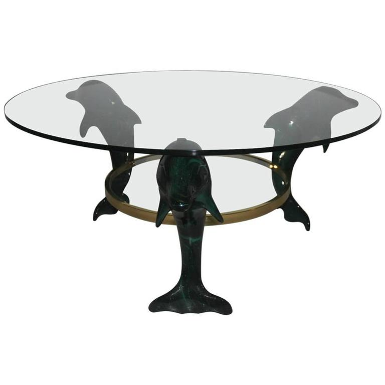 Italian Dolphins Coffee Table 1970, Wood Lacquered Green , brass , Glass Round