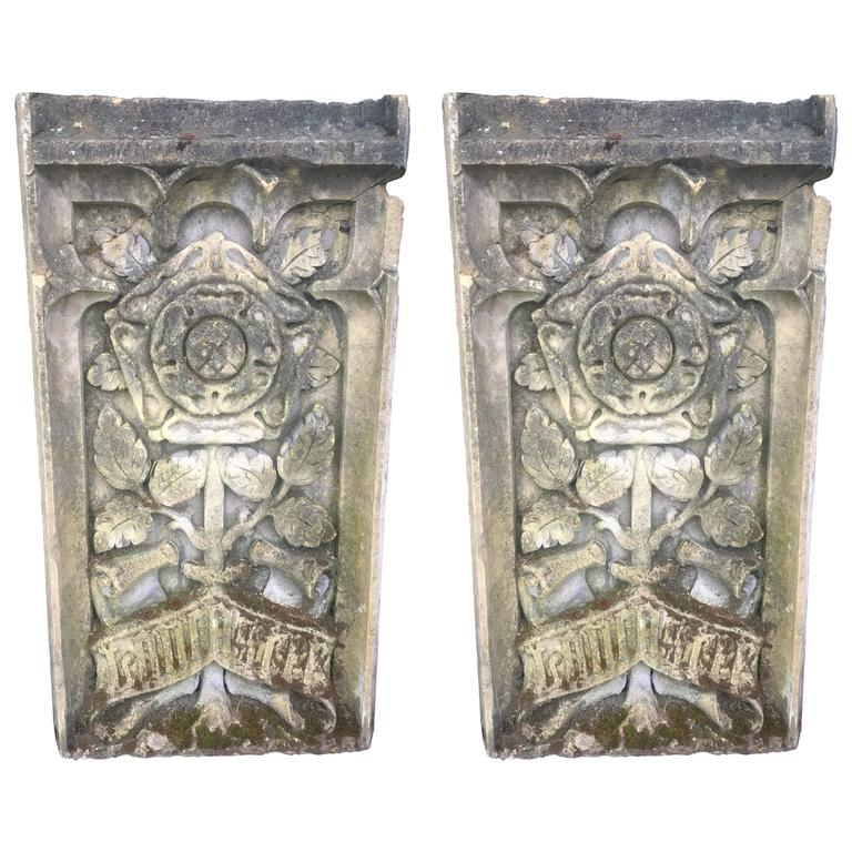 Carved-stone heraldic plaques of York and Lancaster, 17th century, offered by the Elemental Garden