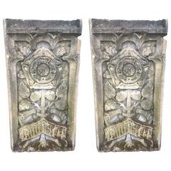 Pair of 17th Century Carved Stone Heraldic Plaques of York and Lancaster