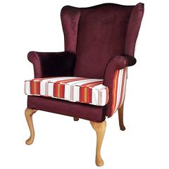 midcentury parker knoll queen anne wingback armchair in ticking and velvet