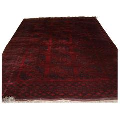 Old Red Afghan Carpet with Traditional Design, circa 1920