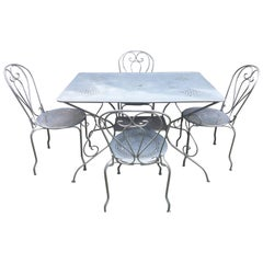 Five-Piece French Wrought Iron Garden Dining Set with Rectangular Table