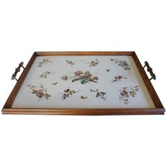 Antique and Large Tile Serving Tray with Beautiful Flower and Butterfly Decor