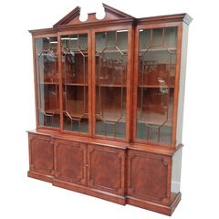 Mahogany Four-Door Breakfront Bookcase with Pediment in Georgian Style