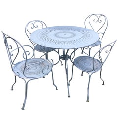 French Wrought Iron Five Piece Garden Dining Set with Round Table