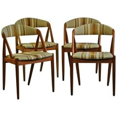1960s Kai Kristiansen Model 31 Dining Chairs in Teak and Vintage Fabric