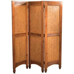 Mid-Century Three-Fold Screen, Split Bamboo and Maple