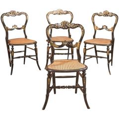 19th Century Victorian Set of Four Antique Dining Chairs, Lacquered