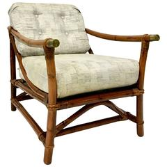 1940'S Ficks Reed Campaign Style Rattan Reed & Brass Recliner Arm Chair