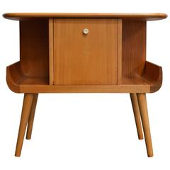 Swedish Mid-Century Golden Elm Side Table with Door