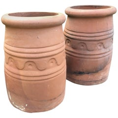 Pair of English Arts and Crafts Terracotta Chimney Pots or Planters