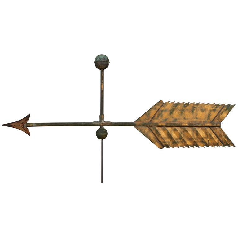 Gilded Copper and Cast Iron Arrow Weathervane