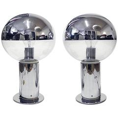 Pair of Mirror Glass and Chrome Table Lamps by Motoko Ishii for Staff