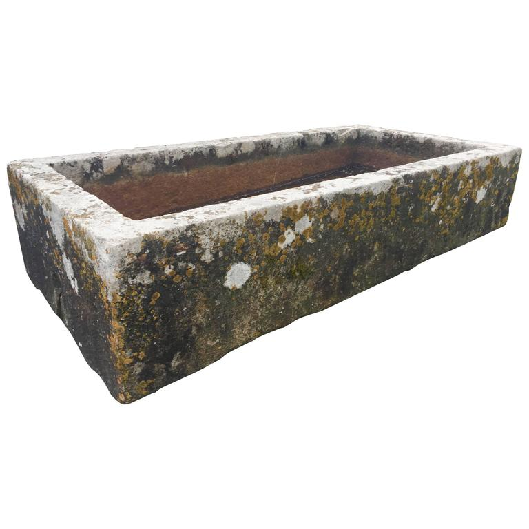 High Stone Wall Garden With Rectangular French Marble: Magnificent Large French Carved Stone Rectangular Trough
