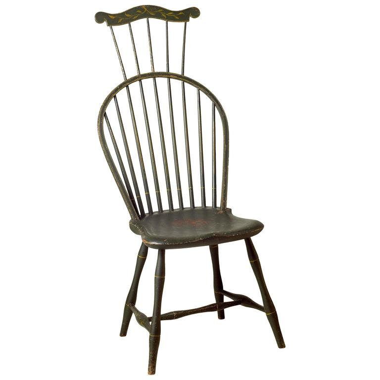 Green Painted Comb Back Windsor Side Chair For Sale At 1stdibs