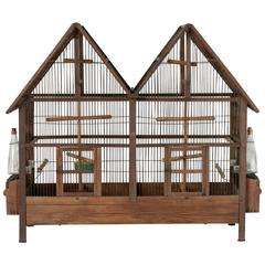 Early 20th Century Double Gabled Wood and Wire Birdcage with Two Compartments