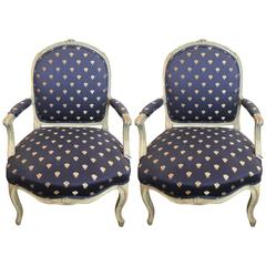 Pair of 19th Century, Louis XV Style Fauteuil Chairs