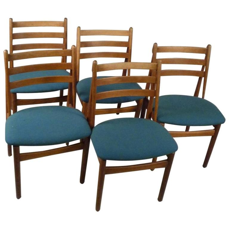 1950s Five Poul Volther Model J60 Dining Chairs in Oak, Blue/Green Fabric - FDB