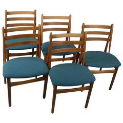 1950s Poul Volther Model J60 Oak Dining Chairs for FDB Møbler, Set of Five