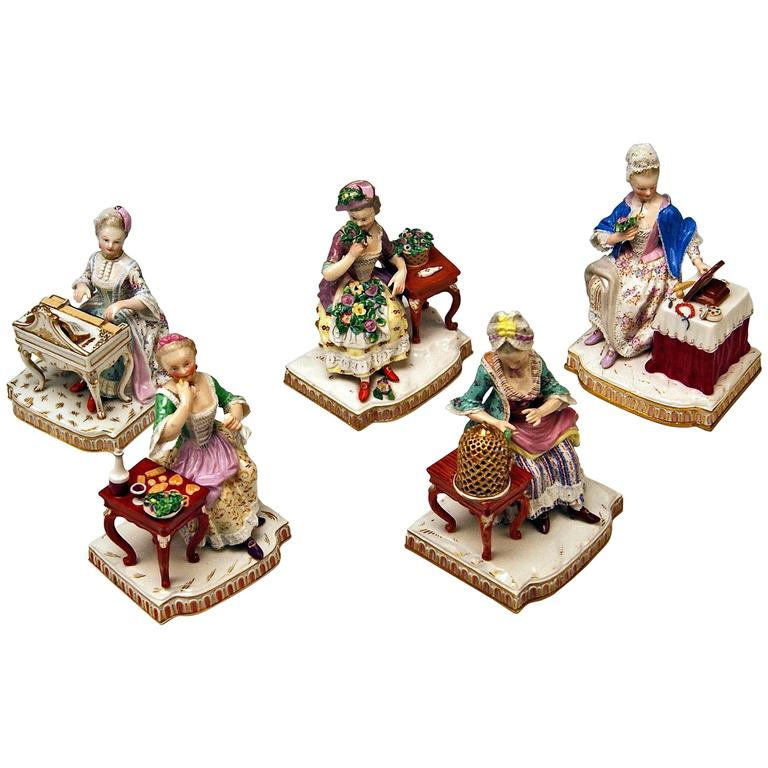 Meissen Rare Complete Series of Five Senses by Schoenheit Models E 1-5 For Sale