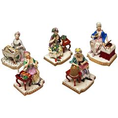 Meissen Rare Complete Series of Five Senses by Schoenheit Models E 1-5
