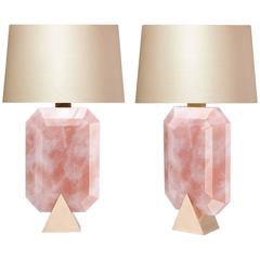 Pair of Diamond Form Rock Crystal Rose Quartz Lamps
