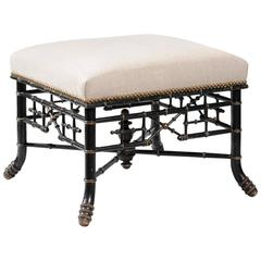 English Chinese Chippendale 19th Century Upholstered Ebonized Faux Bamboo Stool