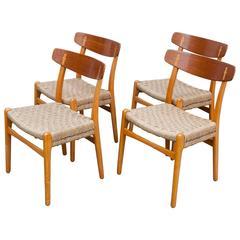 Set of Four 1950s Danish CH-23 Chairs Hans J. Wegner for Carl Hansen & Son