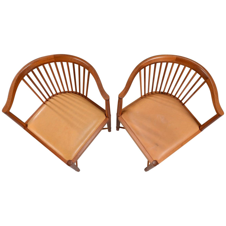 Pair of Børge Mogensen Mahogany King of Diamonds chairs for Søborg Møbelfabrik
