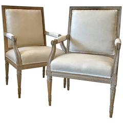 Exceptional Pair of Gustavian Armchairs, Sweden, Late 18th Century