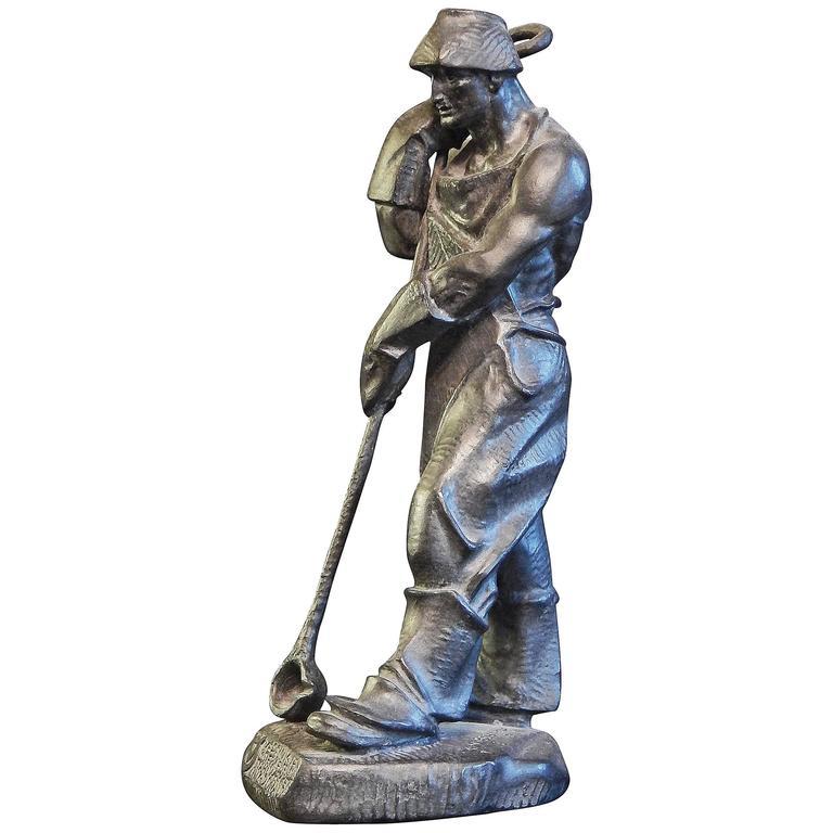 """Steelworker"" Rare Late Art Deco Sculpture of Worker, 1950s, Austria"