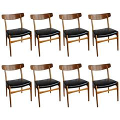 Set of Eight, Early Hans Wegner Ch23 Chairs