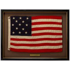 13 Star American Flag with Zig-Zag Stitching, circa 1910